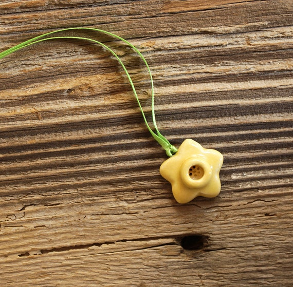 Yellow Daffodil Flower Porcelain Necklace - Handmade Pottery
