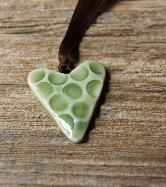 Light Green Porcelain Heart Necklace - Handmade Pottery