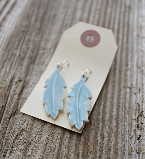 Light Blue Feather Porcelain Earrings - Handmade Pottery