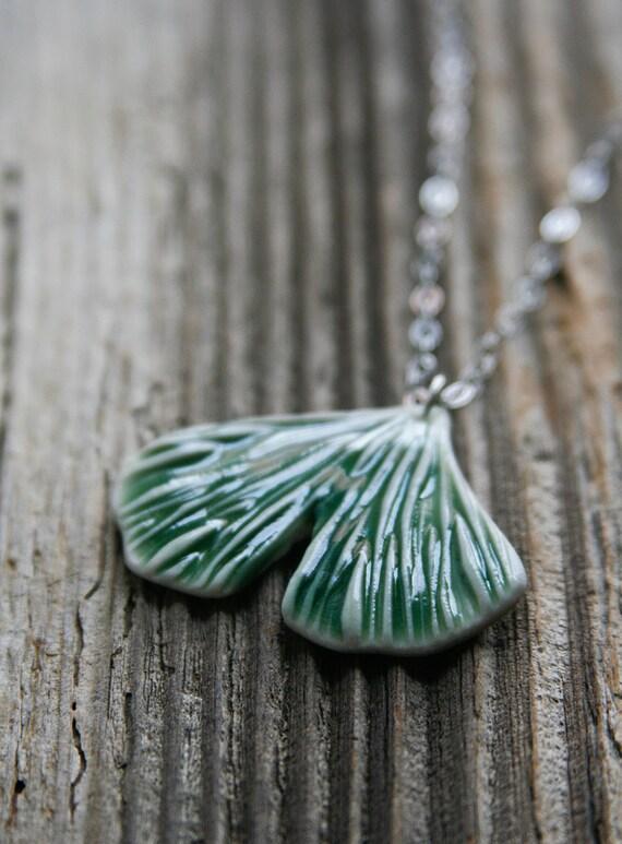 Green Porcelain Ginkgo Leaf Necklace - ON SALE