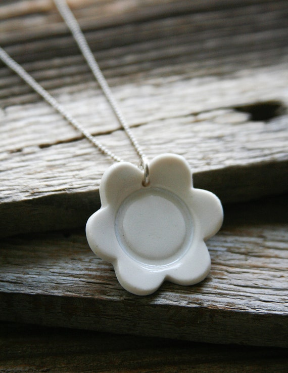 Necklace with White Porcelain Flower - Clearance