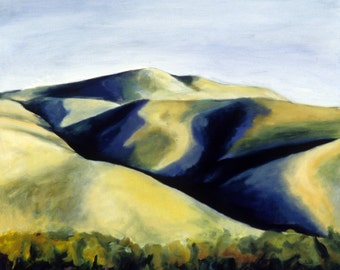 Beach dunes painting with deep indigo blue shadows archival print of oil painting