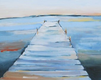 Oil painting of Dock and Calm Water print of original oil painting
