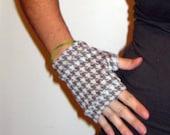 Tan and White Wrist Warmers