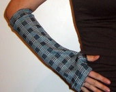 Blue and White Checkered Arm Warmers