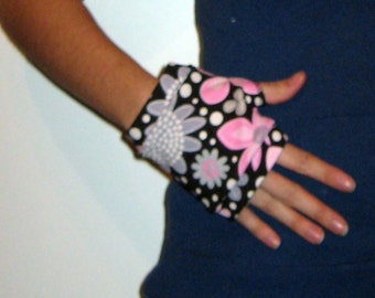 Black with Pink and Gray Flowers Wrist Warmers