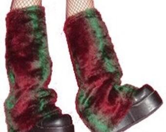 SALE Green and Maroon Fake Fur Leg Warmers SALE