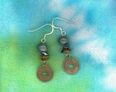 Pottery bead coin earrings