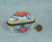 Hand Beaded  Pink Floral China Trinket Box