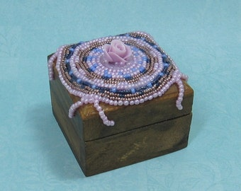 Hand Beaded Small Wood Box with Lavender Rose