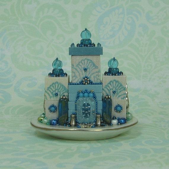 Miniature Beaded Aquas Fantasy Palace Figurine