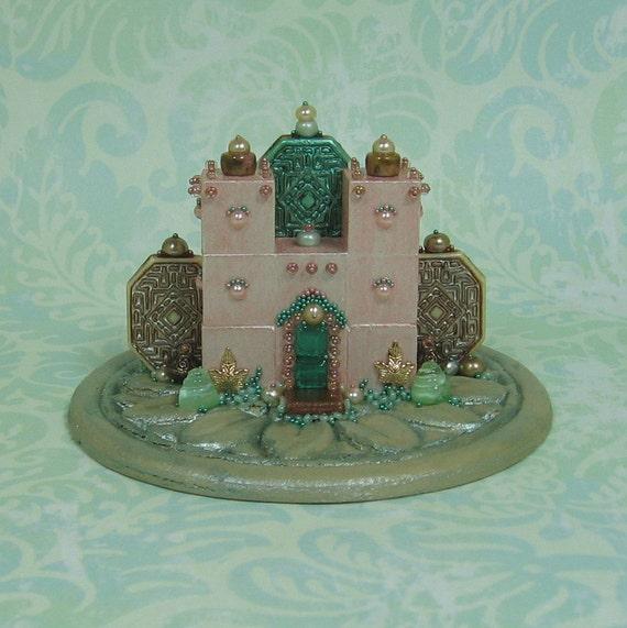 Beaded Miniature Peach/Pinks Fantasy Palace Figurine