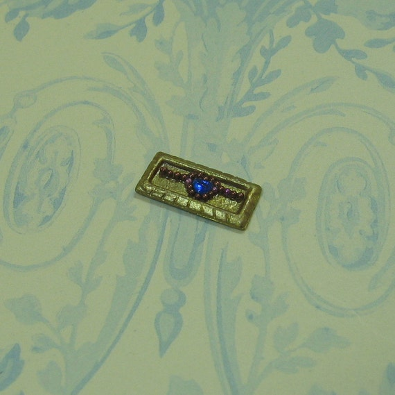 Miniature Dollhouse Blue Crystal Heart Bracelet on Tray