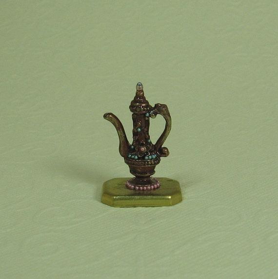 Dollhouse Miniature Copper Patina Filigree Teapot