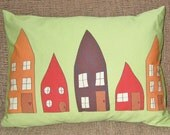 Houses Orange, Green, Brown, Red Pillow Cover 12 by 16 inch series H W