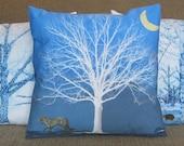Pillow Cover Fox Tree Moon Blue White Yellow 16 inch Sham, Cushion Cover, Pillow Case series M