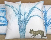 16 inch Decorative Throw Pillow Cover, Foxy under a Blue Tree, Sham, Cushion Cover, Pillow Case series M