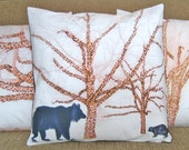Woodland Pillow Cover, 16 inch Decorative Throw Pillow, Bear and Badger Brown Trees, Sham, Cushion Cover, Pillow Case series M