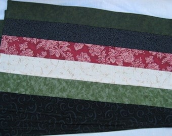Winter Black Red Green and Tan Set of 4 Placemats