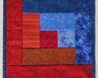 Autumn Leaves Red Orange Blue Wallhanging or Half size Tablerunner