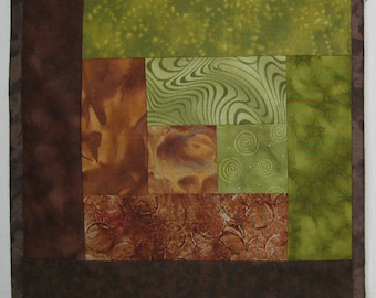 Tablerunner Brown and Olive Green Rich Earth colors Half size or Wallhanging