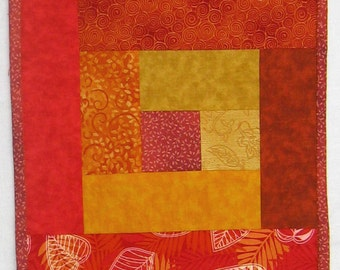 Autumn Leaves Red Orange Yellow Wallhanging or Half size Tablerunner