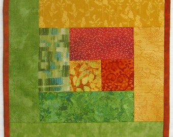 Autumn Leaves Red Orange Yellow Green Wallhanging or Half size Tablerunner