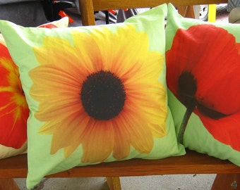 Sunflower on Green Background Pillow Cover 16 inch series F