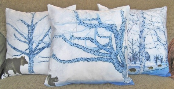 16 inch Decorative Throw Pillow Cover, Safe Blue Trees and Squirrel Sham, Cushion Cover, Pillow Case, series M