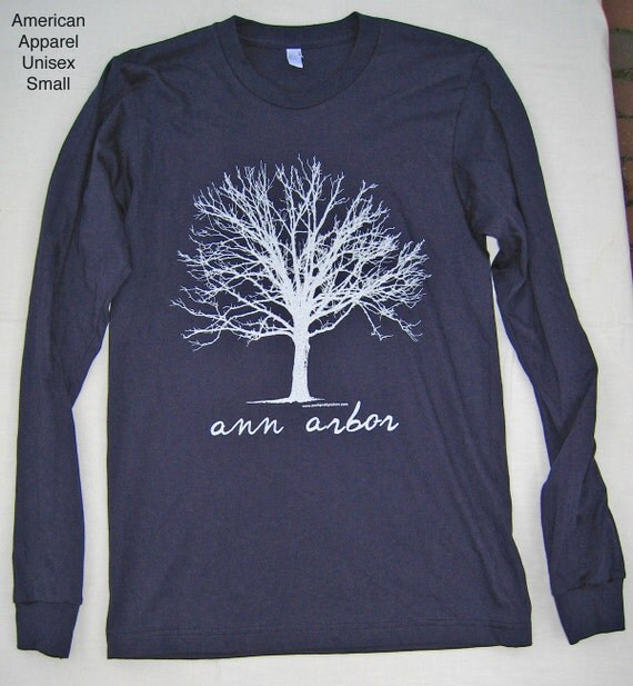 Long Sleeve Unisex White Tree T Shirt Ann Arbor Navy Blue American Apparel size Small Medium Large or Extra Large XL