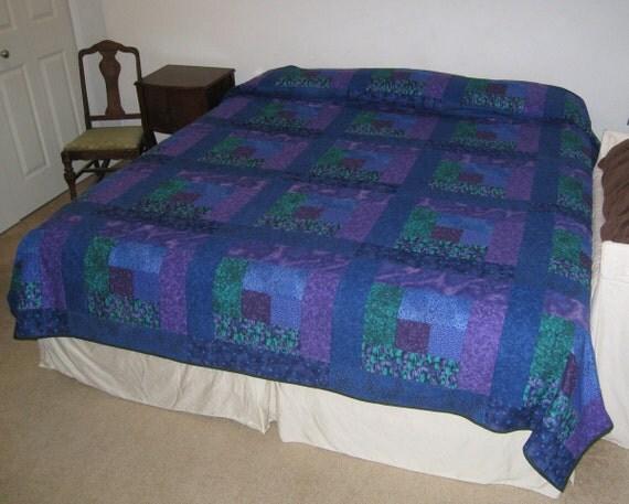 Ocean Blue Green Purple King size Quilt