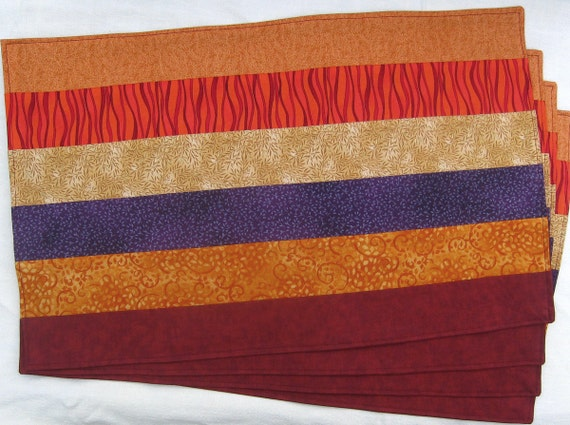 """Autumn Leaves Maroon Red Orange Yellow Plum Purple Set of 8 Placemats, 60"""" Table Runner, and 2 Dark Red Napkins"""