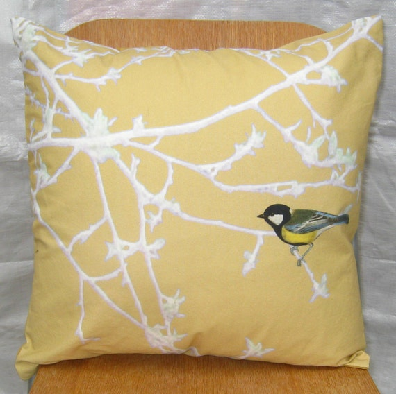 Pillow Cover Bird on a Branch Pale Gold 16 inch series F