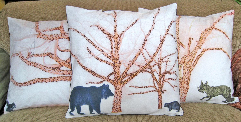 Bear Throw Pillow Covers : Woodland Pillow Cover 16 inch Decorative Throw Pillow Bear