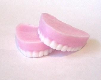 Peppermint scented Dentures - handmade glycerin Soap Set. Gift for her. Party favor. women. kids. teens. Dentist gift. Dental gift.