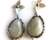 Crystal Encrusted Aquamarine Drop Earrings with Sterling Flower Posts