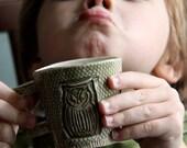 mossy green owl mug for little hands