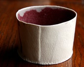 creamy white and red candy dish - scale texture - organic rim