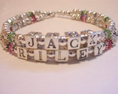 Custom Name Bracelet for Mom or Grandmom - two names - Silver with accents