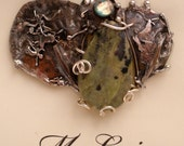 Pin in Sterling Silver and Married Metals Andyite and dichroic  by Cathleen McLain McLainJewelry 11355