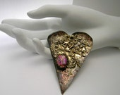 Valentine Heart  Big Bold   Pin brooch Sterling Silver and married metals by Cathleen McLain  12262
