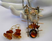 Crystal Cave and  Amber Pendant with removable    Pin  Brooch  and matching earrings in Sterling Married Metals   McLainJewelry 12284
