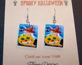 VINTAGE HALLOWEEN Witch and Pumpkin Earrings