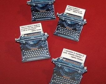 AGATHA CHRISTIE Mystery Quote Typewriter Pin