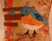 Eastern Bluebird Fabric Collage Pillow Cover