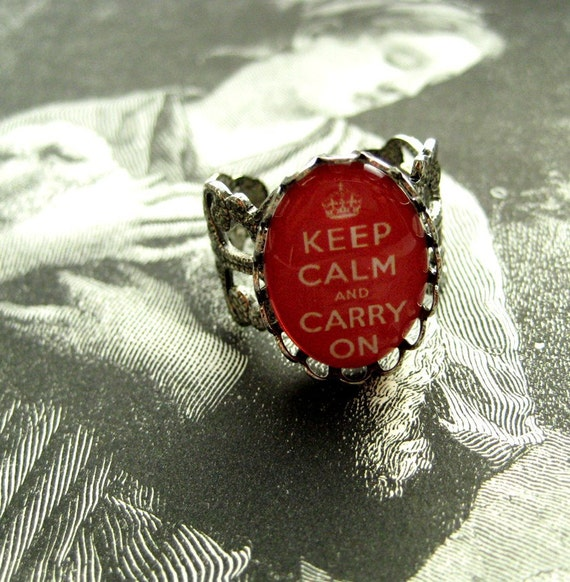 Keep Calm and Carry On Silver Filigree Charm Ring from Hoolala