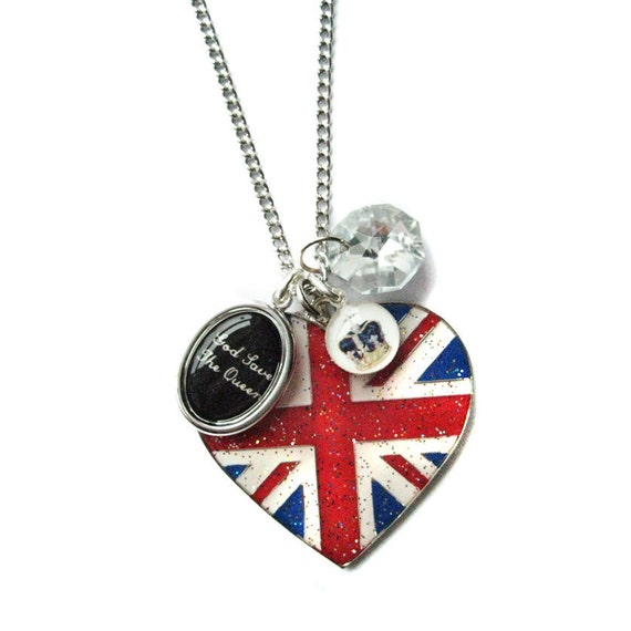 God Save the Queen Heart Union Jack Crown and Swarovski Charm Necklace from Hoolala
