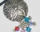 Vintage look fine silver pendant with multi-colored Swarvoski Crystal Dangles