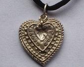Vintage Look Fine Silver Heart Pendant