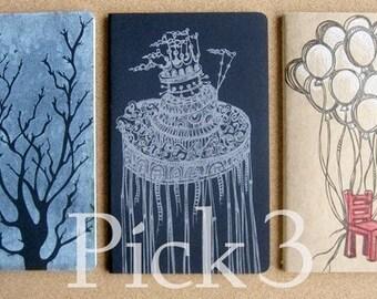 Pick 3 Hand Printed Moleskine . Large